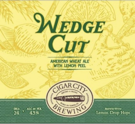 CIGAR CITY WEDGE CUT AMARICAN WHEAT ALE WITH LEMON PEEL