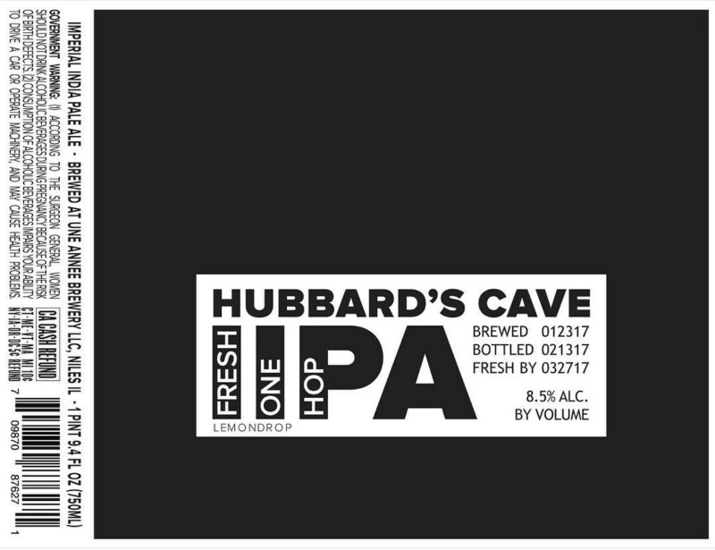 HUBBARDS CAVE FRESH IIPA ONE HOP CITRA